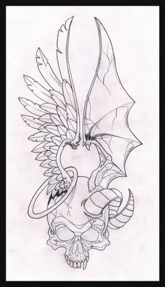 Angel and demon drawings two face angel on deviantart Skull Tattoo Design, Tattoo Design Drawings, Skull Tattoos, Body Art Tattoos, Tattoo Designs, Animal Tattoos, Wing Tattoos, Tattoo Sketches, Tattoo Outline Drawing