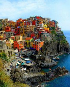 Pastel houses on the Italian shore    La Spezia, Italy.