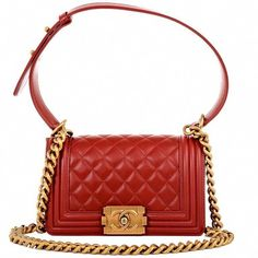 7062bac851c4 Chanel Small Boy Lambskin Bag in Red with Gold Hardware #chanel  #Chanelhandbags #WomensShoulderbags