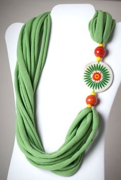upcycled green tshirt necklace