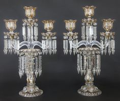 Pair of Baccarat Candelabras & Candle Sticks. Height of Crystal Candelabras: 21 inches / Height Candle Sticks. Fan Decoration, Backdrop Decorations, Backdrops, Crystal Candelabra, French Decor, Oil Lamps, Victorian Homes, Cut Glass, Candle Sticks