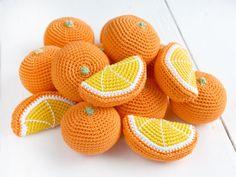 Ganchillo naranja - comida juego - juguetes de aprendizaje - rodaja de naranja - decoración de la cocina - finja el juego