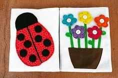Coccinelle et pot de fleur Sunshine, Lollipops, and Rainbows: The Ladybug and the Flowers - Quiet Book pages 8 & 9 Quiet Book Templates, Quiet Book Patterns, Diy Quiet Books, Felt Quiet Books, Busy Book, Soft Dolls, Fabric Dolls, Rag Dolls, Book Pages