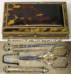 Antique French Boulle Sterling Silver Sewing Etui Faux Tortoise Shell