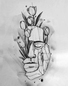 Dark Art Drawings, Pencil Art Drawings, Art Drawings Sketches, Tattoo Drawings, Kritzelei Tattoo, Sketch Tattoo Design, Arte Sketchbook, Doodle Art, Art Inspo
