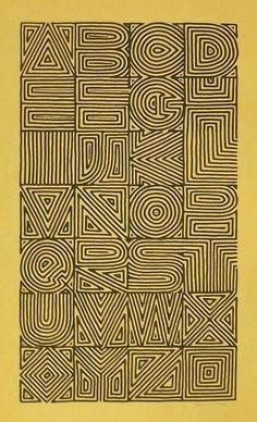 Calligraphy and Lettering Design- Broadsides & Books. Maze alphabet by Sally Wightkin. wonder if a single word could be read as well as the whole alphabet? Calligraphy Letters, Typography Letters, Graphic Design Typography, Lettering Design, Hand Lettering, Typography Poster, Japanese Typography, Typography Quotes, Alphabet Design