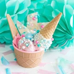 Host your own Ice Cream Party by creating the perfect Ice Cream Bar Station. Mint Green, Aqua, and Light Pink Party Color Palette. Swim Birthday Parties, Pink Parties, 4th Birthday, Cupcake Birthday, Summer Birthday, Ice Cream Dishes, Cream Bowls, Pink And White Weddings, Ice Cream Social