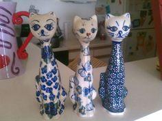 3 Polish Pottery Cats