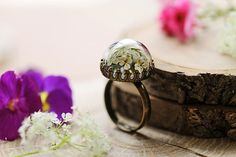 Real flower ring  Queen annes lace  nature jewellery