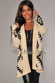 Cream Black Aztec Print Sweater Cardigan