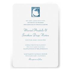 Blue Peacock Rustic Craftsman Wedding Invitation Announcements