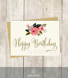 10% OFF with coupon code PIN10 ~ Happy Birthday Card DIY // Floral Birthday // by JadeForestDesign