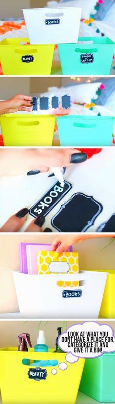 Organize with Bins   DIY Teen Girl Bedroom Organization Ideas