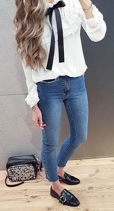 fashion trends / white blouse + bag + skinny jeans + loafers