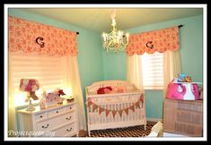 Nursery window treatments- Too cute and I think I might be able to sew these with my little to no sewing skills
