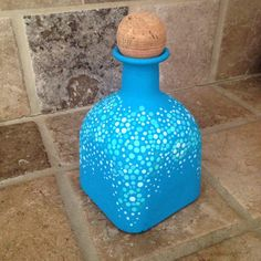 Blue hand painted patron bottle by Nikisgalleryboutique on Etsy                                                                                                                                                                                 More