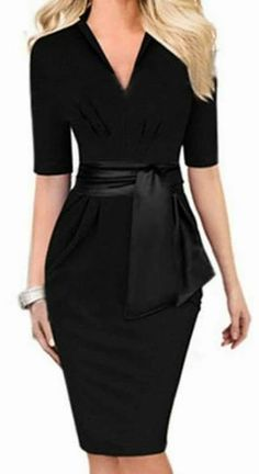 Clean and Simple Lines Sexy Black V-Neck Self-Tie Bodycon Midi Dress Bodycon Outfits, Dress Outfits, Fashion Dresses, Bodycon Dress, Teen Outfits, Sheath Dress, Winter Outfits, Casual Outfits, Fashion Mode
