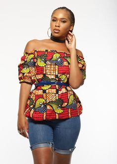 Ola African Print Off the Shoulder Puff Sleeve Top (Red/Yellow)