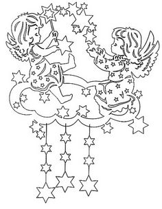 cherubs among stars Kirigami, Diy Christmas Ornaments, Christmas Colors, Holiday Crafts, Christmas Coloring Pages, Coloring Book Pages, Christmas Templates, Christmas Printables, Diy And Crafts