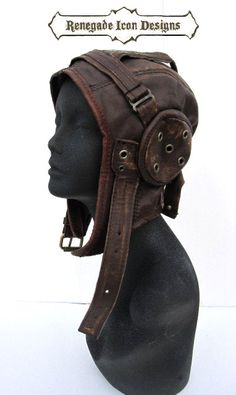 aviator, hat, flight cap, tank girl, leather, distressed, steampunk: Renegade Icon Designs