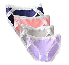 ce0073ace Zooma Women s Lace Trim Cotton Panties Comfort Stretch Hipster Briefs(Pack  of 4) at Amazon Women s Clothing store