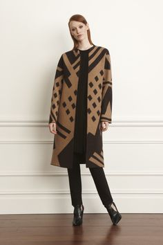 1) Chocolate Chip And Doeskin Intarsia Knit Coat 2) Chocolate Chip Open Front Long Pullover 3) Chocolate Chip Crepe Double Knit New Charlotte Pant #worthnewyork #fall2014 #statementcoat