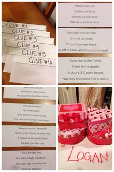 "Valentine's scavenger Hunt!! I left him clues in envelopes at each destination with a present waiting for him at each place! Started the hunt off with ""roses are red, violets are blue, where we first met, will be your first clue."""
