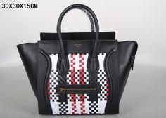 SAC CELINE LUGGAGE MINI TISSAGE BLANC / NOIR / ROUGE 1.Marque  : celine 2.Style  : celine Luggage Mini 3.couleurs :  blanc / noir / rouge 4.Matériel : Importer en cuir d'origine 5.Taille: W30 x H15 x D30 cm Celine Luggage, Luggage Bags, Textiles, Tote Handbags, Mini, Clutches, Totes, Style, Fashion