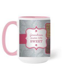 Sweet Grandma Mug, Pink, 15 oz, Grey