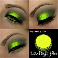 Neon yellow makeup