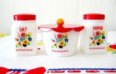 Vintage Range Set Swedish Flowers Milk Glass Salt Pepper Drips Restored so sweet