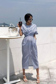Blue Striped Bandage Split Long Dress - Dresses& outfits I ❤️ - Modes Mode Outfits, Stylish Outfits, Dress Outfits, Fashion Dresses, Hijab Dress, Simple Dresses, Casual Dresses, Cheap Dresses, Bershka Collection