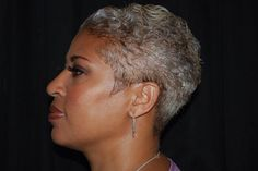 Gray Hair by Carlous Smith, Philadelphia, PA Silver Grey Hair, Gray Hair, Short Hair Cuts, Short Hair Styles, Curly Short, Silver Haired Beauties, Grey Hair Inspiration, Salt And Pepper Hair, Sassy Hair