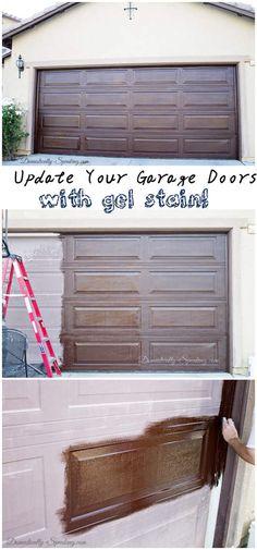 Diy Garage Door Makeover Using Minwax Gel Stain In Hickory