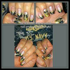 Navy Nail Art, Navy Nails, Painted Nail Art, Hand Painted, Military Nails, Acrylic Nails, Boards, Nail Polish, Facebook