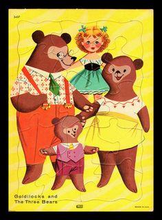 Vintage 1960's Lowe Goldilocks and The Three Bears Tray Puzzle High Grade | eBay
