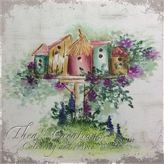 Art Impressions Rubber Stamps: Wonderful Watercolor: WC Series 5 Set 2, birdhouses and Foliage Set. .... handmade card.