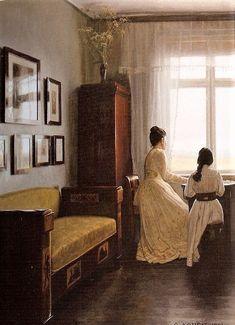 "Georg Nicolai Achen ~ (Danish: 1860-1912) ~ ""Interior, 1901"""