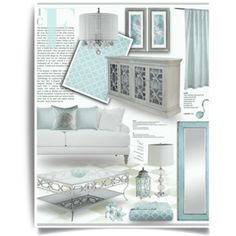 Ice Blue & Silver Living Room Decor