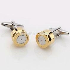 Lepton Bullet Cufflinks for Mens Gold Color Bullet Design Cuff links Men  Wedding Groom Shirt Cuffs dcbd0c2ea6f0
