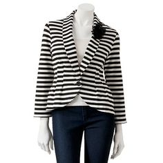 Candies Striped Peplum Blazer I just need a striped blazer. I need it.