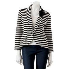 Candies Striped Peplum Blazer I just need a striped blazer. I need it.