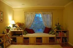 IKEA bookshelves made into window seat and shelves :)