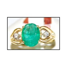 http://rubies.work/0587-emerald-rings/ 18K Yellow Gold Emerald Genuine Solitaire Diamond by BKGjewels