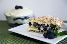 Toasted Coconut and Blueberry Bavarian Cream Pie get the recipe for a limited time at  https://www.facebook.com/whatscookingwithdoc become a fan and you can down load a FREE ebook of recipes!!!!