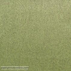 Papel Pintado Smart SMA_2612_71_09, papel recubierto con diseños y formas florales en fondo verde y dibujo en gris.