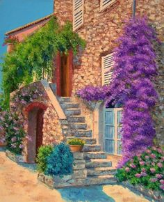 Stair and Bouganvillea by Jean Marc Janiaczyk makes me want to walk up the stairs and knock on the door