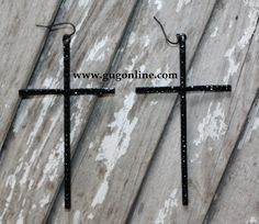 Giddy Up Glamour  $14.95  Black Crystal Cross Earrings