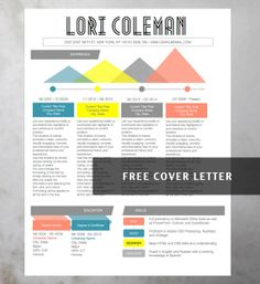 Captivating Modern Resume Word Template   Lori Coleman   Instant Download   Free Cover  Letter