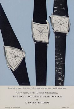 Vintage asymmetric Patek Philippe watches from a circa 1960 ad. Via http://blackboughwatches.wordpress.com/  -  Top tip: Click pics for best price